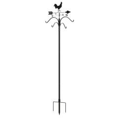 Rooster Double Weathervane Shepherd Hook Bird Feeding Station