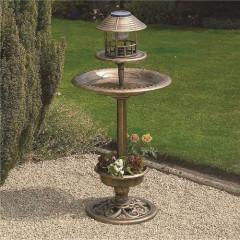 Copper Effect Solar Bird Bath and Feeding Station
