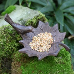 Fallen Fruits Cast Iron Leaf Bird Bath - lifestyle