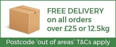 Free Delivery on all orders over £25 or 12.5kg - exclusions apply - click on link to see delivery details